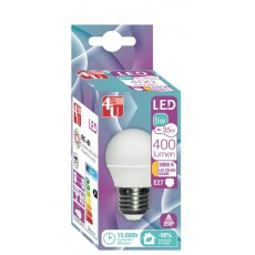 4U LED ESFERICA 5W E27 CALIDA 250º