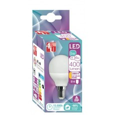 4U LED ESFERICA 5W E14 CALIDA 250º