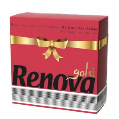 RENOVA SERVILLETA ROJA GOLD 39 x 39 2C P40