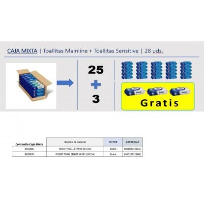 DODOT TOALLITAS CAJA MIXTA 25 ETAPAS + 3 SENS